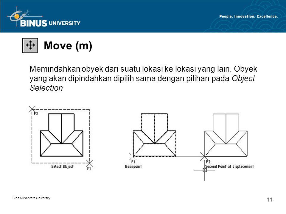 Bina Nusantara University 11 Move (m) Memindahkan obyek dari suatu lokasi ke lokasi yang lain.