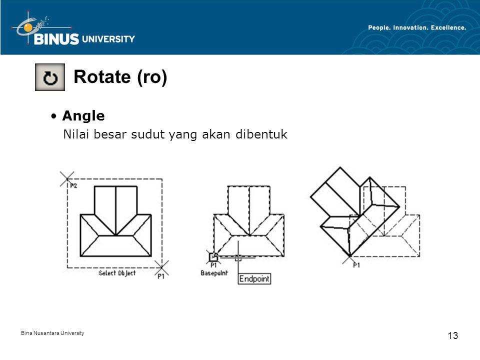 Bina Nusantara University 13 Rotate (ro) Angle Nilai besar sudut yang akan dibentuk