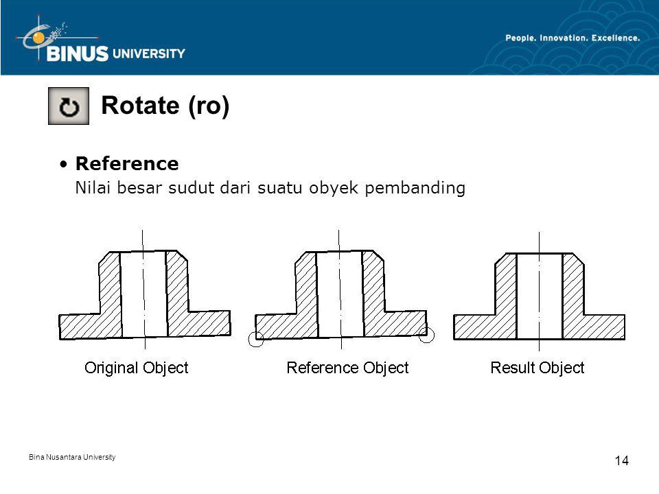 Bina Nusantara University 14 Rotate (ro) Reference Nilai besar sudut dari suatu obyek pembanding