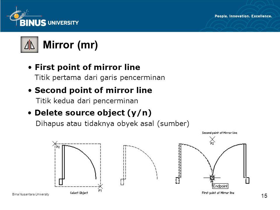 Bina Nusantara University 15 Mirror (mr) First point of mirror line Titik pertama dari garis pencerminan Second point of mirror line Titik kedua dari pencerminan Delete source object (y/n) Dihapus atau tidaknya obyek asal (sumber)