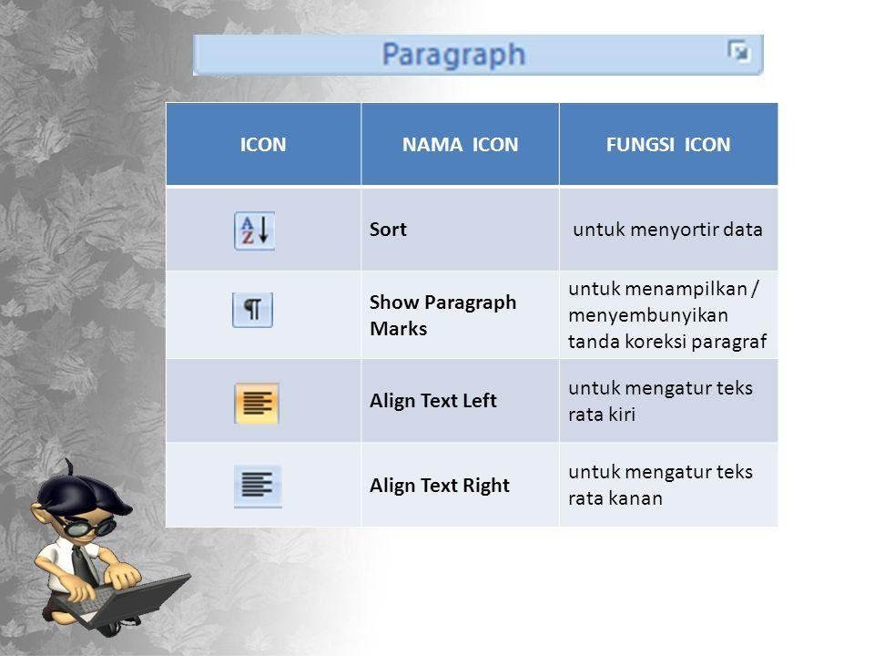 ICONNAMA ICONFUNGSI ICON Sort untuk menyortir data Show Paragraph Marks untuk menampilkan / menyembunyikan tanda koreksi paragraf Align Text Left untuk mengatur teks rata kiri Align Text Right untuk mengatur teks rata kanan