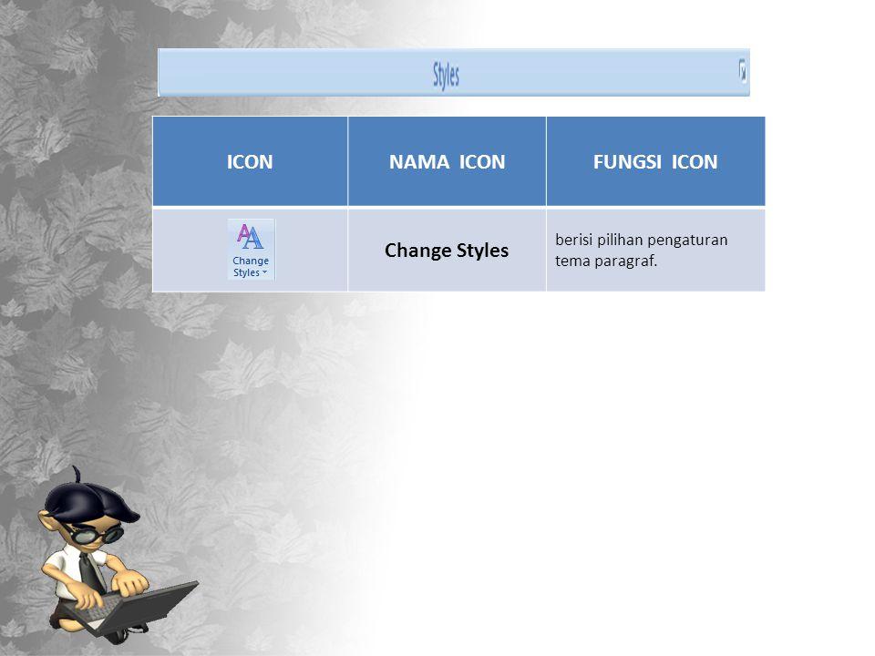 ICONNAMA ICONFUNGSI ICON Change Styles berisi pilihan pengaturan tema paragraf.