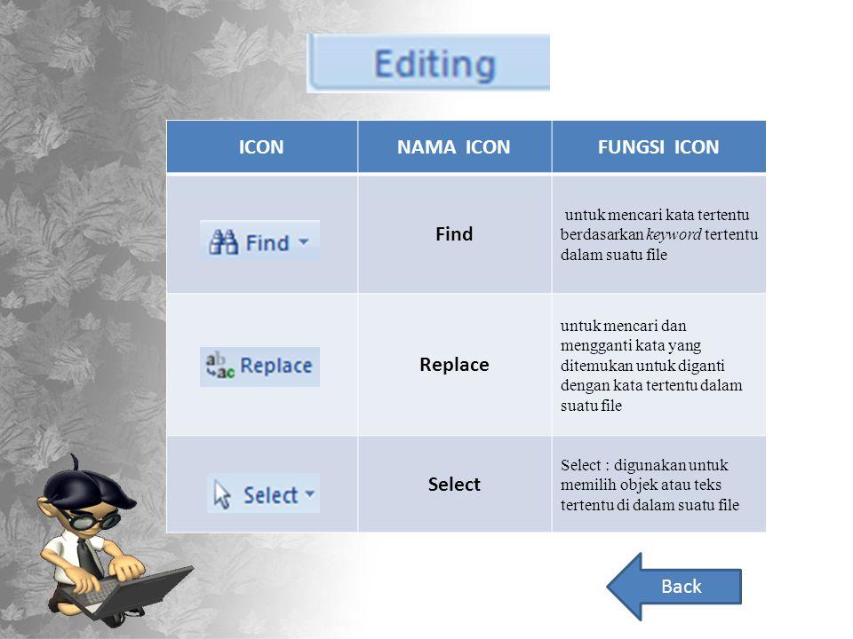ICONNAMA ICONFUNGSI ICON Find untuk mencari kata tertentu berdasarkan keyword tertentu dalam suatu file Replace untuk mencari dan mengganti kata yang ditemukan untuk diganti dengan kata tertentu dalam suatu file Select Select : digunakan untuk memilih objek atau teks tertentu di dalam suatu file Back