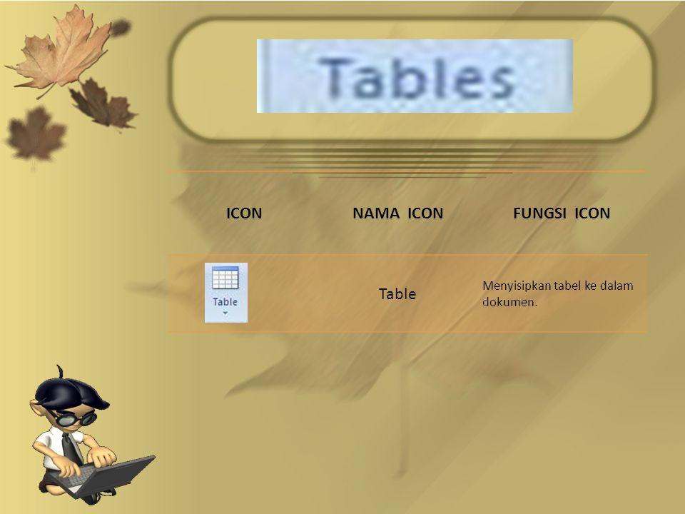 ICONNAMA ICONFUNGSI ICON Table Menyisipkan tabel ke dalam dokumen.