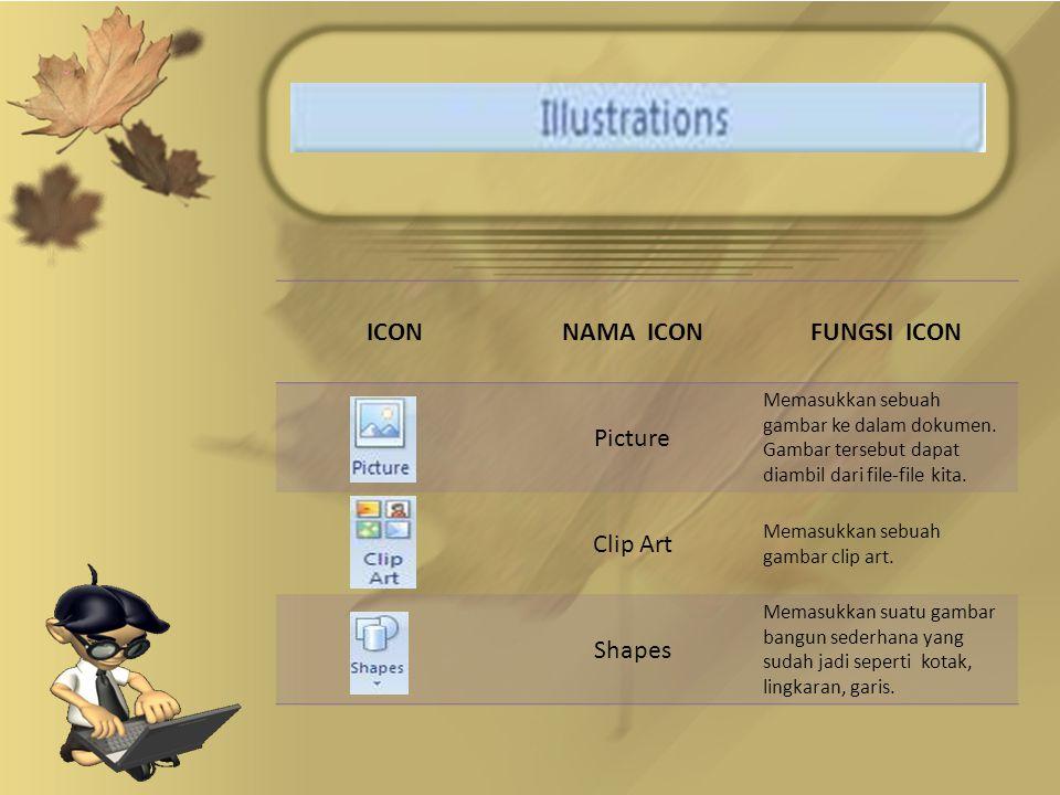 ICONNAMA ICONFUNGSI ICON Picture Memasukkan sebuah gambar ke dalam dokumen.