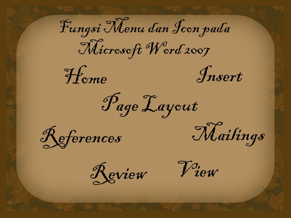 Fungsi Menu dan Icon pada Microsoft Word 2007 Home Insert Mailings Page Layout References Review View