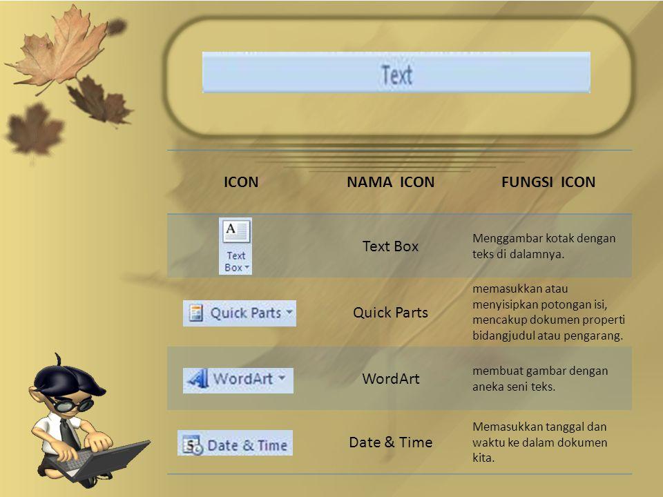 ICONNAMA ICONFUNGSI ICON Text Box Menggambar kotak dengan teks di dalamnya.