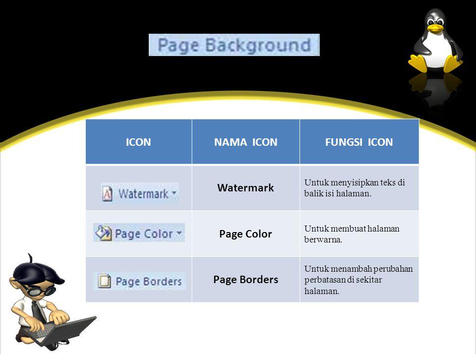 ICONNAMA ICONFUNGSI ICON Watermark Untuk menyisipkan teks di balik isi halaman.