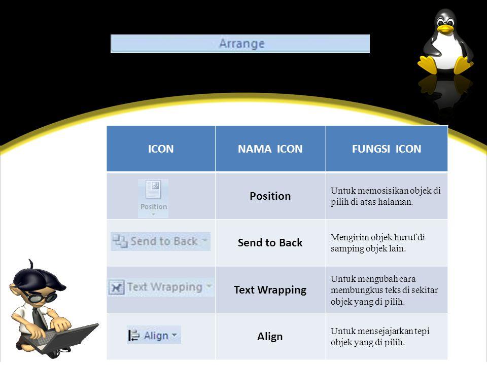 ICONNAMA ICONFUNGSI ICON Position Untuk memosisikan objek di pilih di atas halaman.