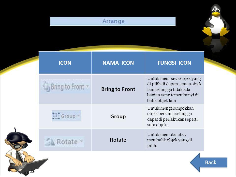 ICONNAMA ICONFUNGSI ICON Bring to Front Untuk membawa objek yang di pilih di depan semua objek lain sehingga tidak ada bagian yang tersembunyi di balik objek lain Group Untuk mengelompokkan objek bersama sehingga dapat di perlakukan seperti satu objek.
