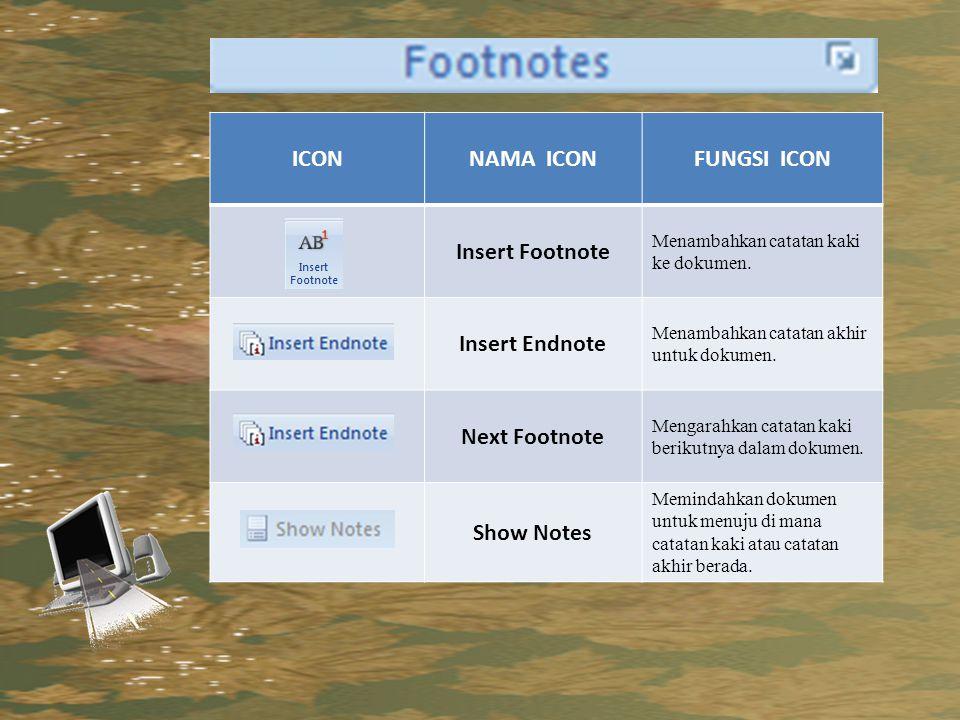 ICONNAMA ICONFUNGSI ICON Insert Footnote Menambahkan catatan kaki ke dokumen.