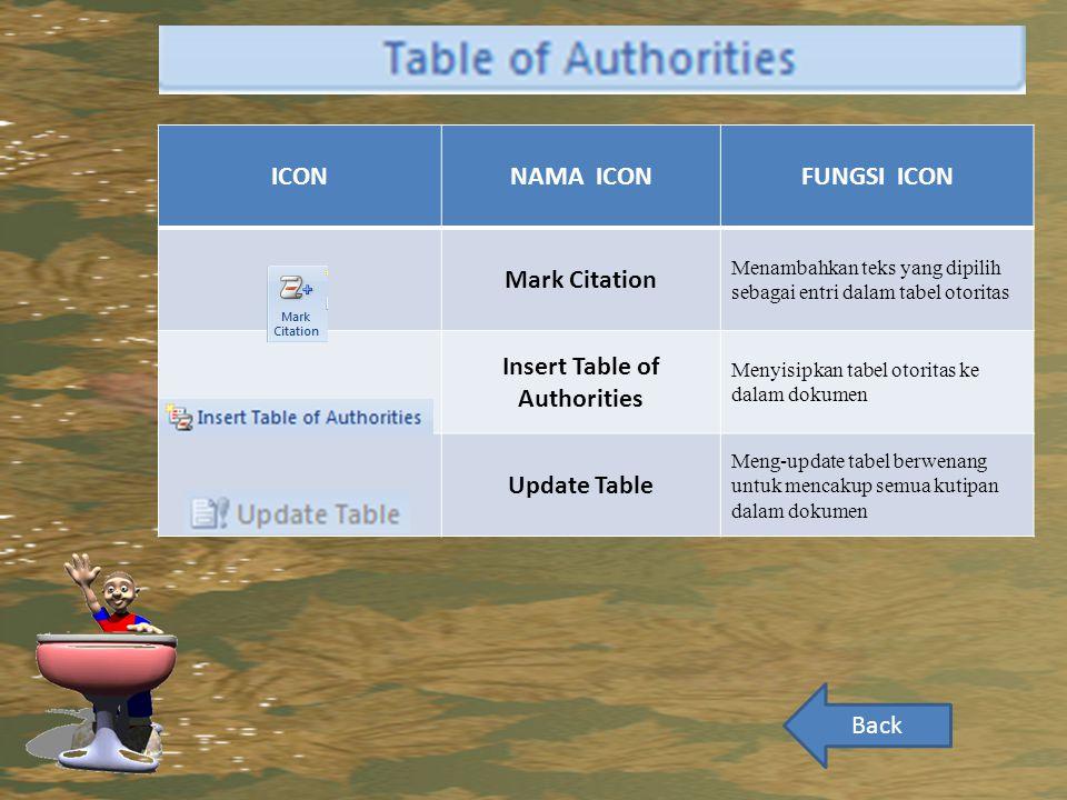 ICONNAMA ICONFUNGSI ICON Mark Citation Menambahkan teks yang dipilih sebagai entri dalam tabel otoritas Insert Table of Authorities Menyisipkan tabel otoritas ke dalam dokumen Update Table Meng-update tabel berwenang untuk mencakup semua kutipan dalam dokumen Back