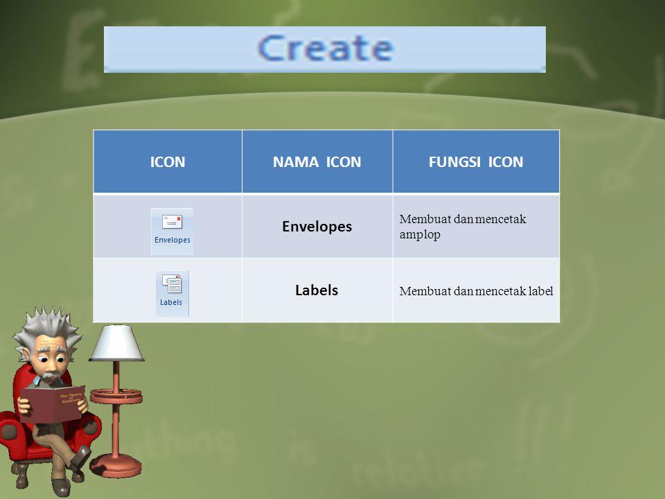 ICONNAMA ICONFUNGSI ICON Envelopes Membuat dan mencetak amplop Labels Membuat dan mencetak label