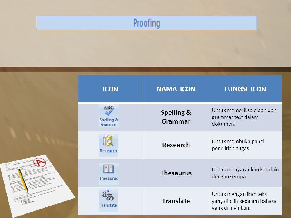 ICONNAMA ICONFUNGSI ICON Spelling & Grammar Untuk memeriksa ejaan dan grammar text dalam dokumen.