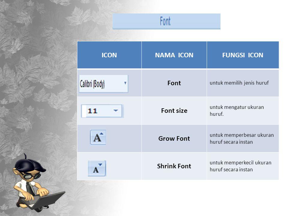 ICONNAMA ICONFUNGSI ICON Font untuk memilih jenis huruf Font size untuk mengatur ukuran huruf.