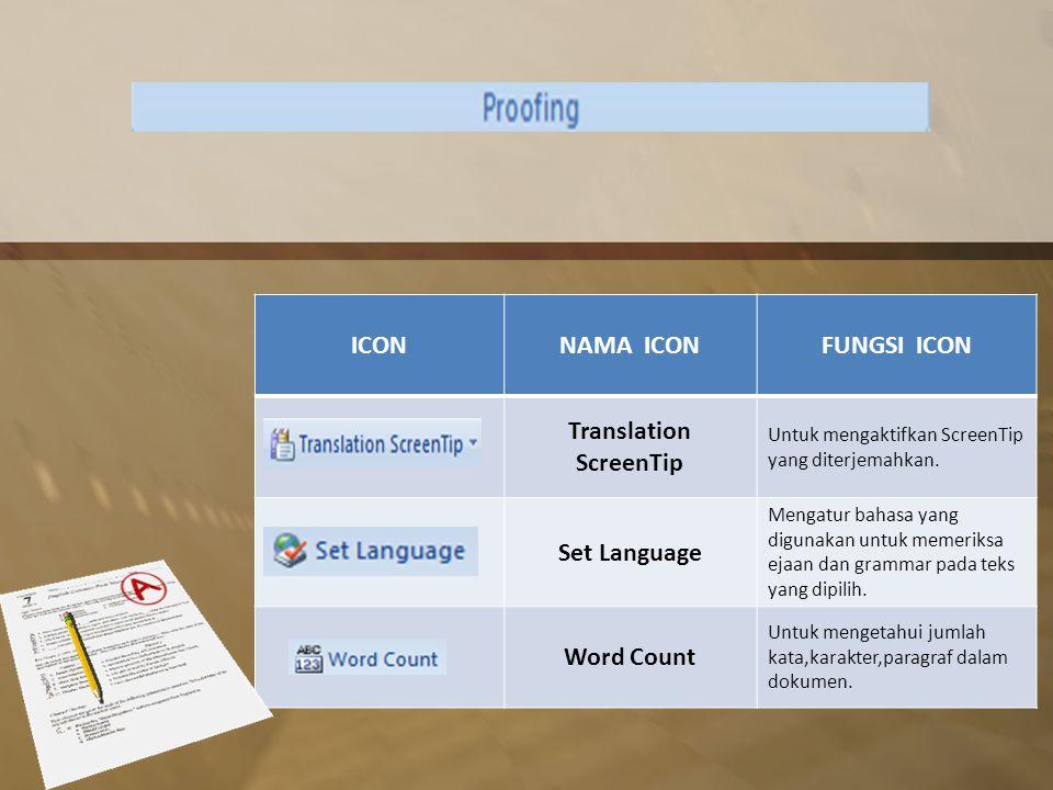 ICONNAMA ICONFUNGSI ICON Translation ScreenTip Untuk mengaktifkan ScreenTip yang diterjemahkan.