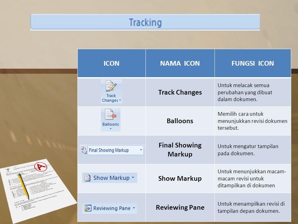 ICONNAMA ICONFUNGSI ICON Track Changes Untuk melacak semua perubahan yang dibuat dalam dokumen.