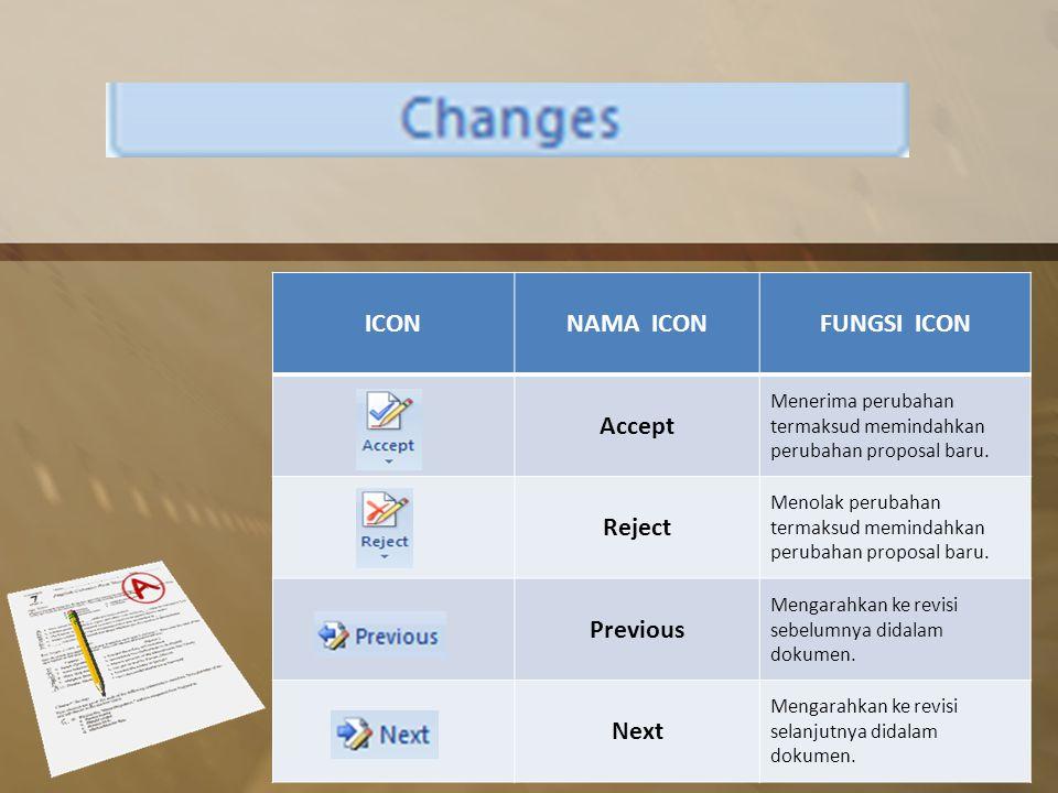 ICONNAMA ICONFUNGSI ICON Accept Menerima perubahan termaksud memindahkan perubahan proposal baru.