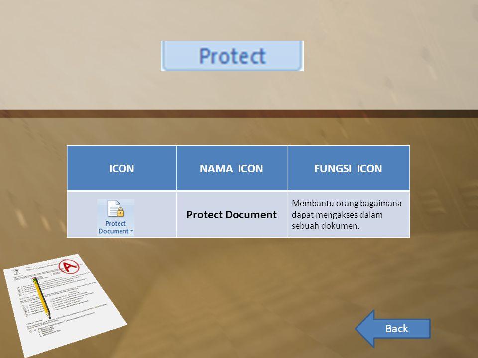 ICONNAMA ICONFUNGSI ICON Protect Document Membantu orang bagaimana dapat mengakses dalam sebuah dokumen.