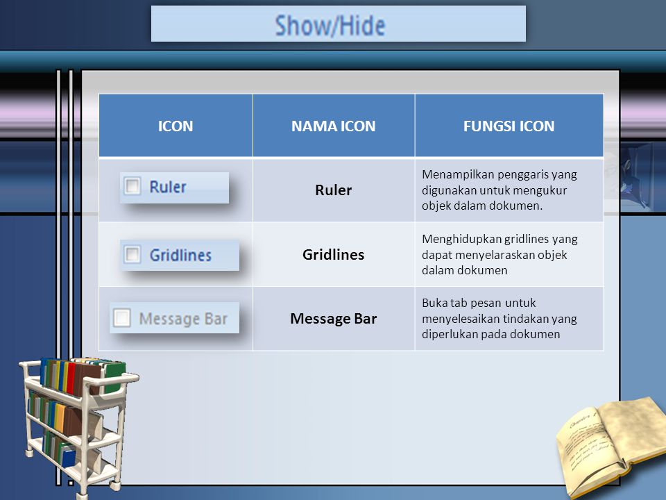 ICONNAMA ICONFUNGSI ICON Ruler Menampilkan penggaris yang digunakan untuk mengukur objek dalam dokumen.