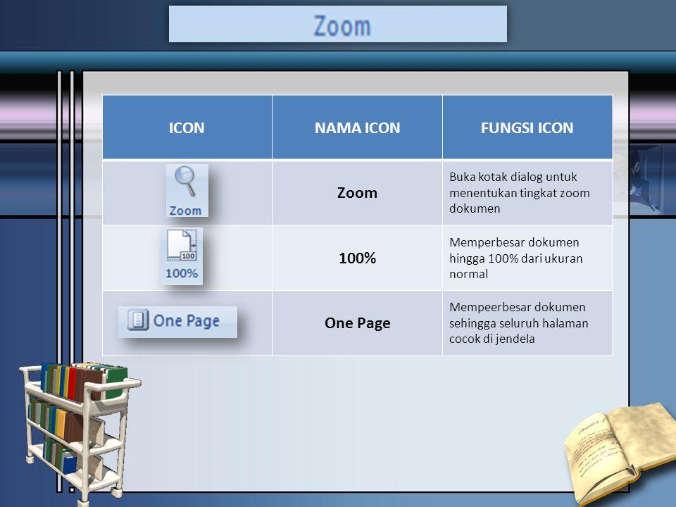 ICONNAMA ICONFUNGSI ICON Zoom Buka kotak dialog untuk menentukan tingkat zoom dokumen 100% Memperbesar dokumen hingga 100% dari ukuran normal One Page Mempeerbesar dokumen sehingga seluruh halaman cocok di jendela
