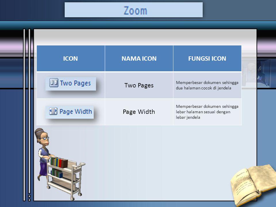 ICONNAMA ICONFUNGSI ICON Two Pages Memperbesar dokumen sehingga dua halaman cocok di jendela Page Width Memperbesar dokumen sehingga lebar halaman sesuai dengan lebar jendela