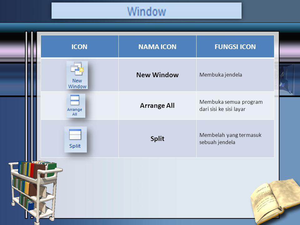 ICONNAMA ICONFUNGSI ICON New Window Membuka jendela Arrange All Membuka semua program dari sisi ke sisi layar Split Membelah yang termasuk sebuah jendela