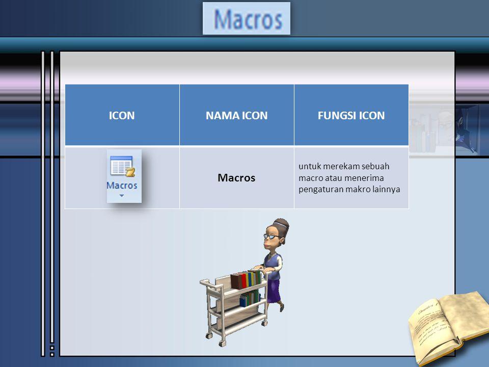 ICONNAMA ICONFUNGSI ICON Macros untuk merekam sebuah macro atau menerima pengaturan makro lainnya