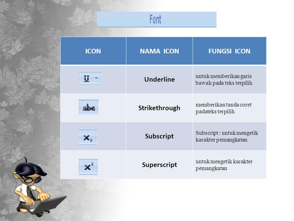 ICONNAMA ICONFUNGSI ICON Underline untuk memberikan garis bawah pada teks terpilih Strikethrough memberikan tanda coret padateks terpilih Subscript Subscript : untuk mengetik karakter pemangkatan Superscript untuk mengetik karakter pemangkatan