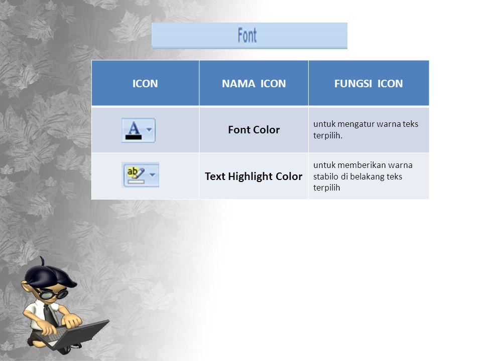 ICONNAMA ICONFUNGSI ICON Font Color untuk mengatur warna teks terpilih.