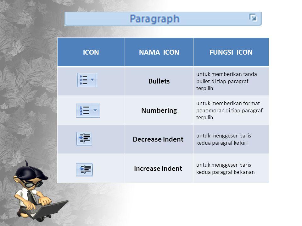 ICONNAMA ICONFUNGSI ICON Bullets untuk memberikan tanda bullet di tiap paragraf terpilih Numbering untuk memberikan format penomoran di tiap paragraf terpilih Decrease Indent untuk menggeser baris kedua paragraf ke kiri Increase Indent untuk menggeser baris kedua paragraf ke kanan