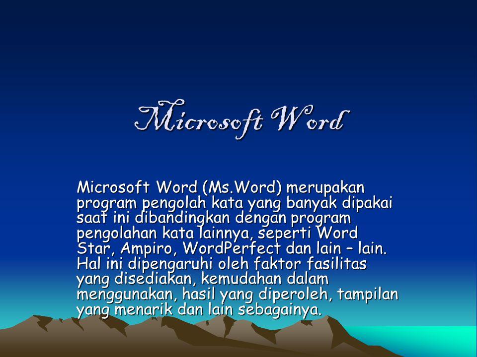 Microsoft Word Microsoft Word (Ms.Word) merupakan program pengolah kata yang banyak dipakai saat ini dibandingkan dengan program pengolahan kata lainn
