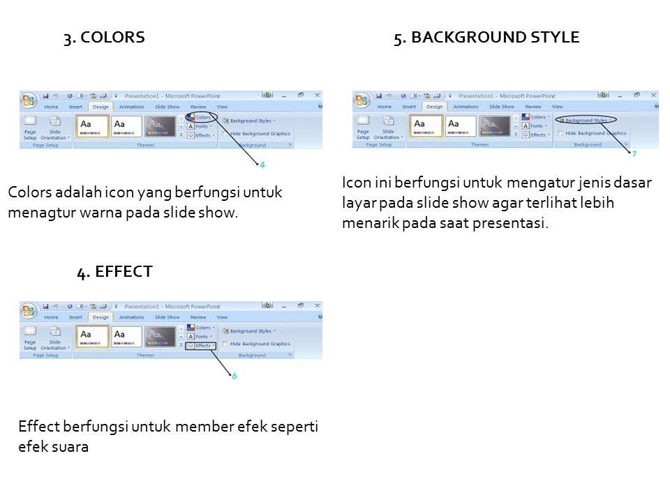3. COLORS Colors adalah icon yang berfungsi untuk menagtur warna pada slide show. 4. EFFECT Effect berfungsi untuk member efek seperti efek suara 5. B
