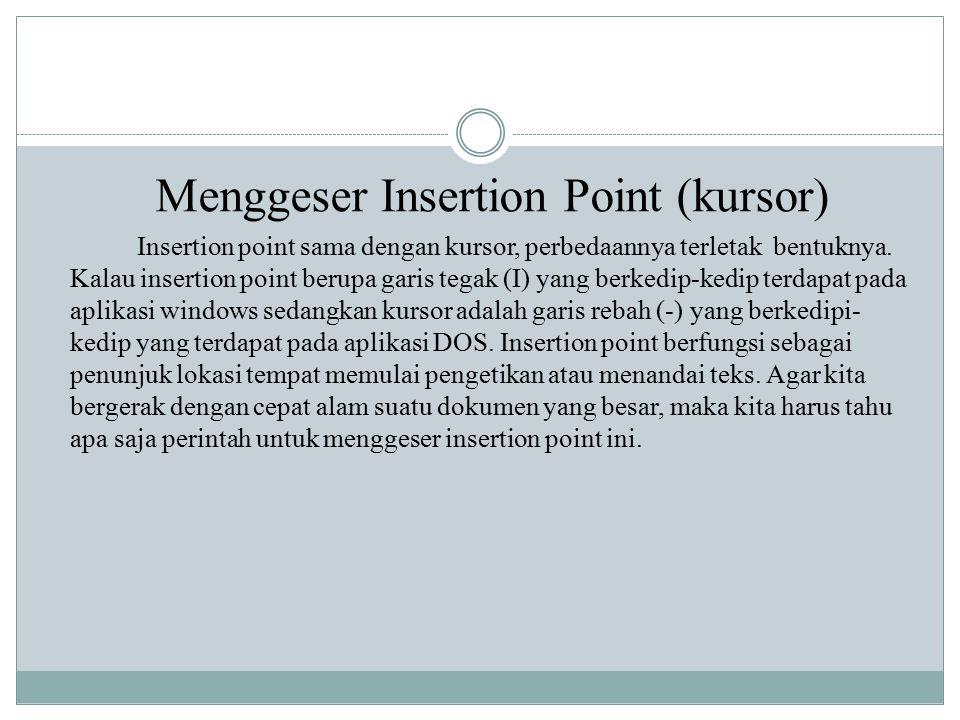 Menggeser Insertion Point (kursor) Insertion point sama dengan kursor, perbedaannya terletak bentuknya. Kalau insertion point berupa garis tegak (I) y