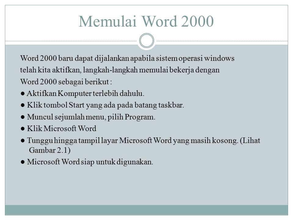 Memulai Word 2000 Word 2000 baru dapat dijalankan apabila sistem operasi windows telah kita aktifkan, langkah-langkah memulai bekerja dengan Word 2000