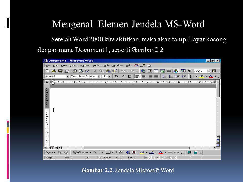 Mengenal Elemen Jendela MS-Word Setelah Word 2000 kita aktifkan, maka akan tampil layar kosong dengan nama Document 1, seperti Gambar 2.2 Gambar 2.2.