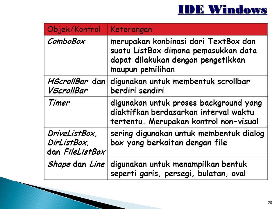 26 IDE Windows Objek/KontrolKeterangan ComboBoxmerupakan konbinasi dari TextBox dan suatu ListBox dimana pemasukkan data dapat dilakukan dengan penget