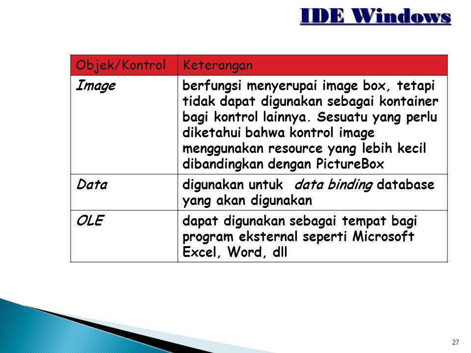27 IDE Windows Objek/KontrolKeterangan Imageberfungsi menyerupai image box, tetapi tidak dapat digunakan sebagai kontainer bagi kontrol lainnya. Sesua