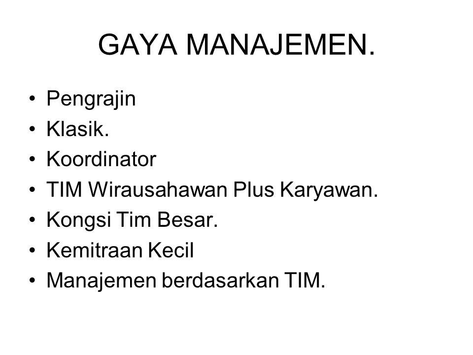 GAYA MANAJEMEN. Pengrajin Klasik. Koordinator TIM Wirausahawan Plus Karyawan. Kongsi Tim Besar. Kemitraan Kecil Manajemen berdasarkan TIM.