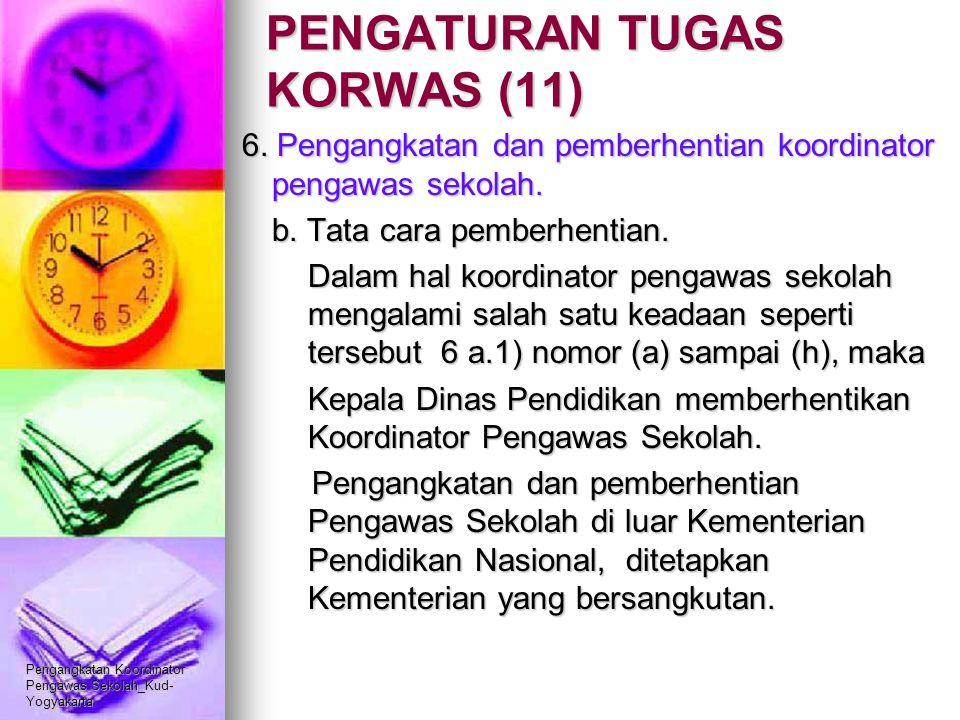 Pengangkatan Koordinator Pengawas Sekolah_Kud- Yogyakarta PENGATURAN TUGAS KORWAS (11) 6. Pengangkatan dan pemberhentian koordinator pengawas sekolah.