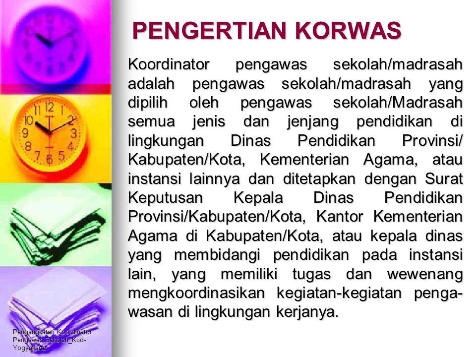 Pengangkatan Koordinator Pengawas Sekolah_Kud- Yogyakarta PENGERTIAN KORWAS Koordinator pengawas sekolah/madrasah adalah pengawas sekolah/madrasah yan
