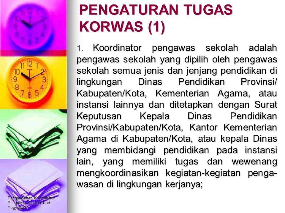Pengangkatan Koordinator Pengawas Sekolah_Kud- Yogyakarta PENGATURAN TUGAS KORWAS (1) 1. Koordinator pengawas sekolah adalah pengawas sekolah yang dip