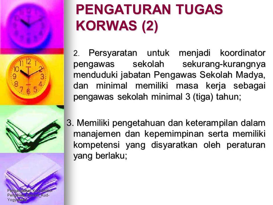 Pengangkatan Koordinator Pengawas Sekolah_Kud- Yogyakarta PENGATURAN TUGAS KORWAS (2) 2. Persyaratan untuk menjadi koordinator pengawas sekolah sekura
