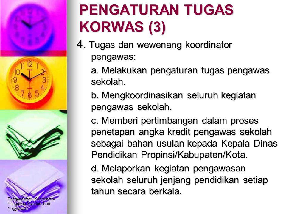 Pengangkatan Koordinator Pengawas Sekolah_Kud- Yogyakarta PENGATURAN TUGAS KORWAS (3) 4. Tugas dan wewenang koordinator pengawas: a. Melakukan pengatu