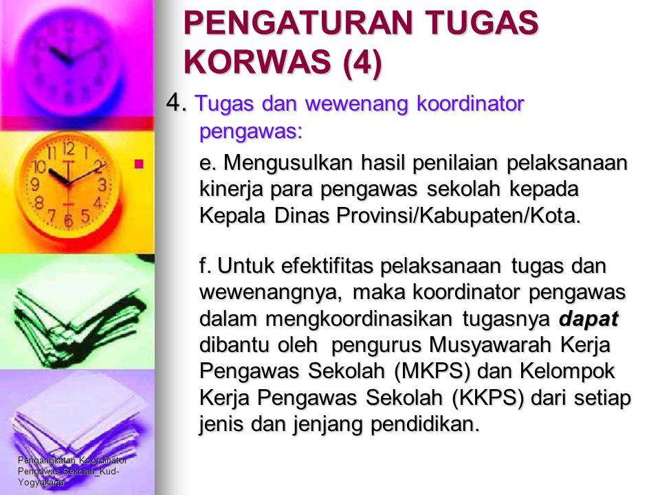 Pengangkatan Koordinator Pengawas Sekolah_Kud- Yogyakarta PENGATURAN TUGAS KORWAS (4) 4. Tugas dan wewenang koordinator pengawas: e. Mengusulkan hasil