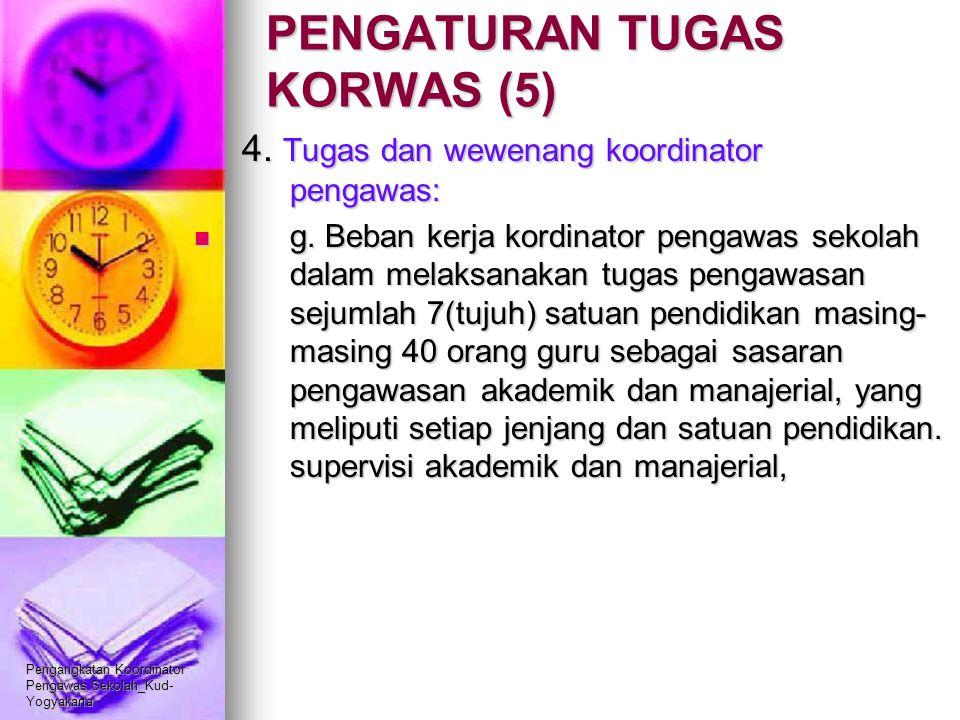 Pengangkatan Koordinator Pengawas Sekolah_Kud- Yogyakarta PENGATURAN TUGAS KORWAS (5) 4. Tugas dan wewenang koordinator pengawas: g. Beban kerja kordi
