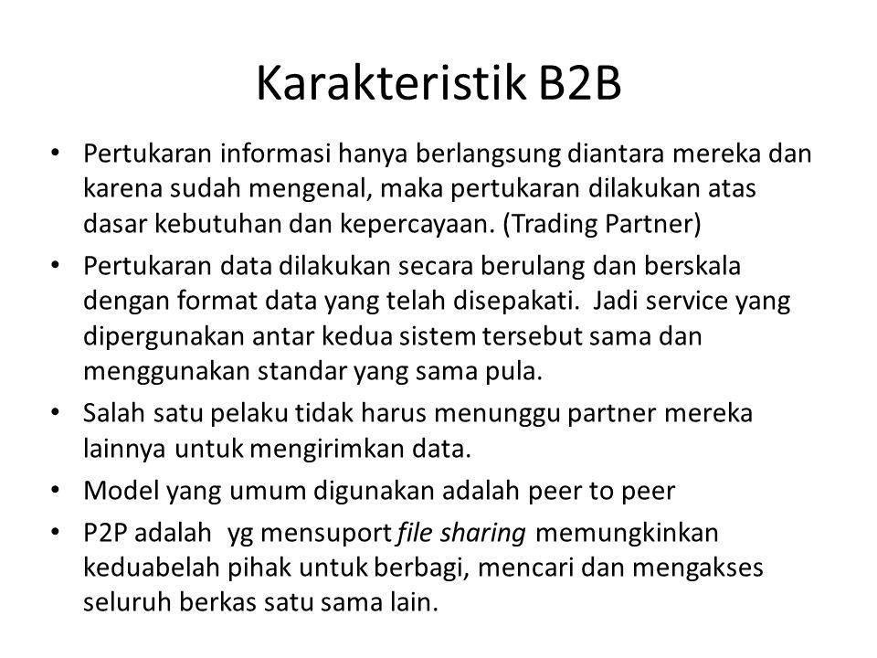Karakteristik B2B Pertukaran informasi hanya berlangsung diantara mereka dan karena sudah mengenal, maka pertukaran dilakukan atas dasar kebutuhan dan