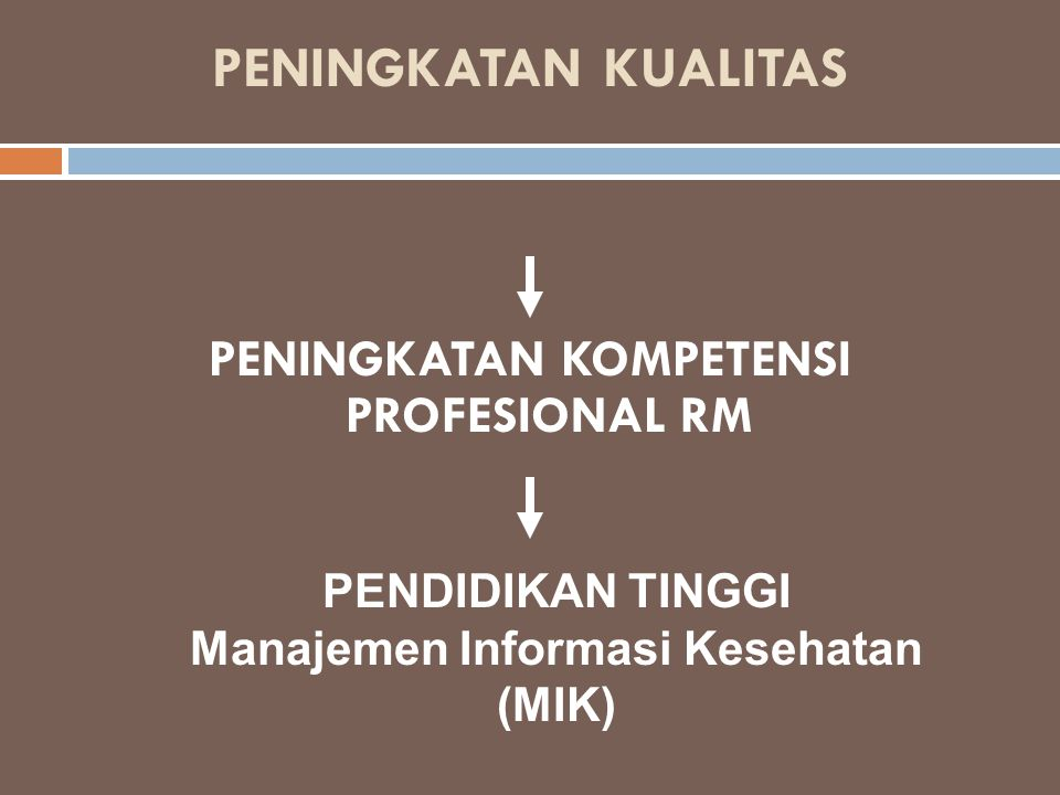 PENINGKATAN KUALITAS PENINGKATAN KOMPETENSI PROFESIONAL RM PENDIDIKAN TINGGI Manajemen Informasi Kesehatan (MIK)