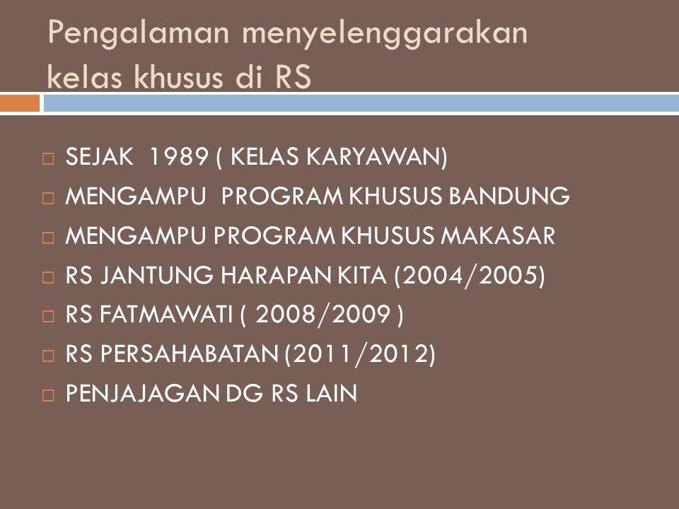 Pengalaman menyelenggarakan kelas khusus di RS  SEJAK 1989 ( KELAS KARYAWAN)  MENGAMPU PROGRAM KHUSUS BANDUNG  MENGAMPU PROGRAM KHUSUS MAKASAR  RS