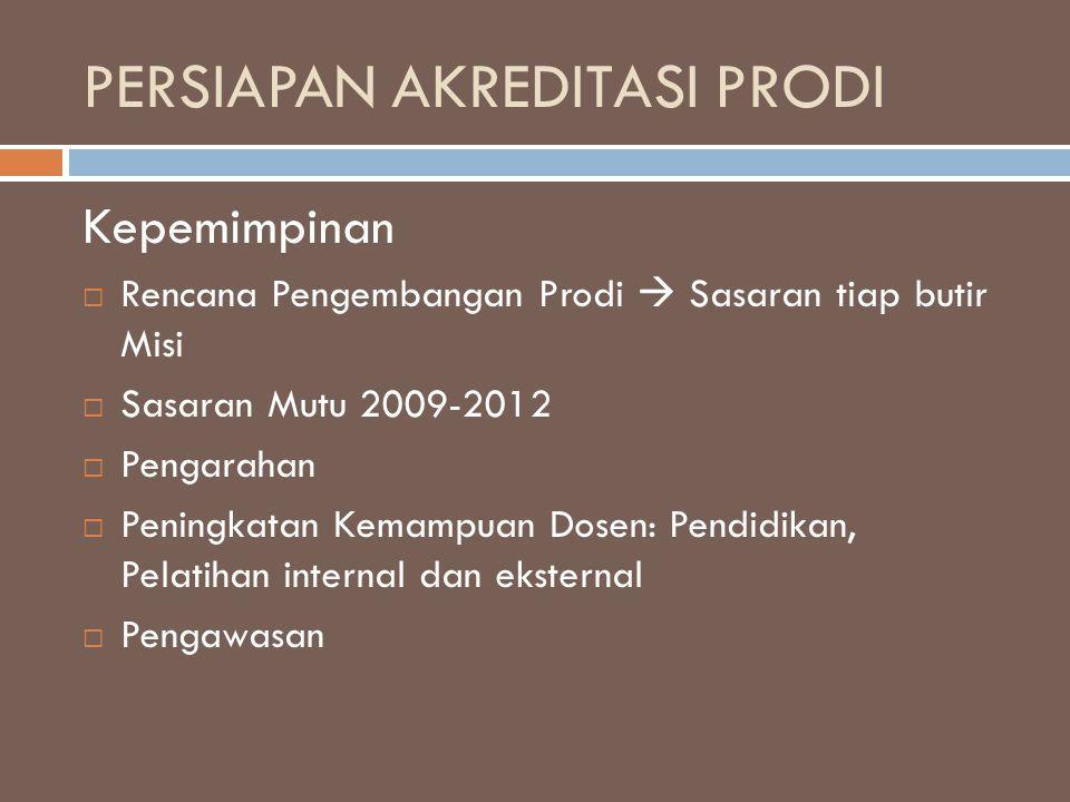 PERSIAPAN AKREDITASI PRODI Kepemimpinan  Rencana Pengembangan Prodi  Sasaran tiap butir Misi  Sasaran Mutu 2009-2012  Pengarahan  Peningkatan Kem